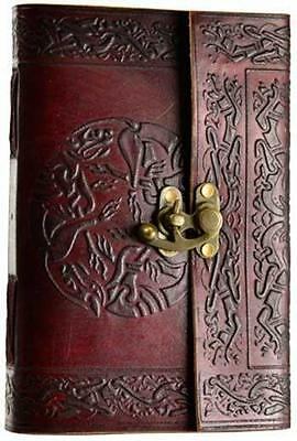 Leather Bound & Locking CELTIC STAG Book of Shadows, Journal, Diary!