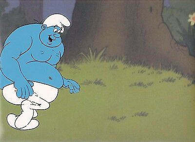 Hanna-Barbera 1981 The Smurfs Original Hand Painted Cel & Copy Background Art.