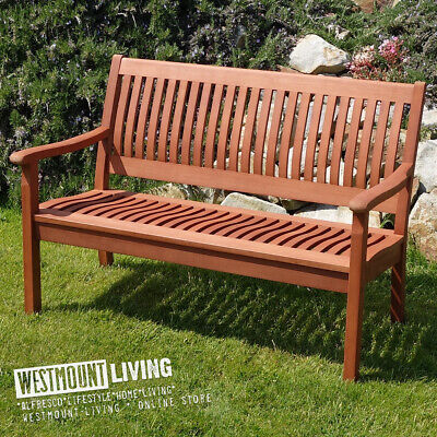 4Ft Wooden Garden Bench Seat Two Seater Hardwood Outdoor Furniture New