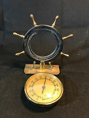 Old Vtg Florn Fahrenheit Ships Wheel Design Thermometer Made In West Germany