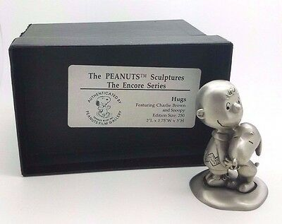 """Hugs"" Randi Johnson Ltd Ed Peanuts Pewter Sculpture In Box Charlie Brown Snoopy"