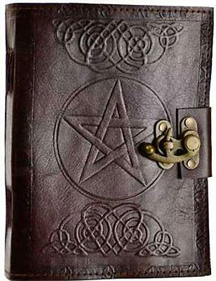 6x8 Leather Pentagram w/Celtic Knots Locking Book of Shadows, Journal, Diary!