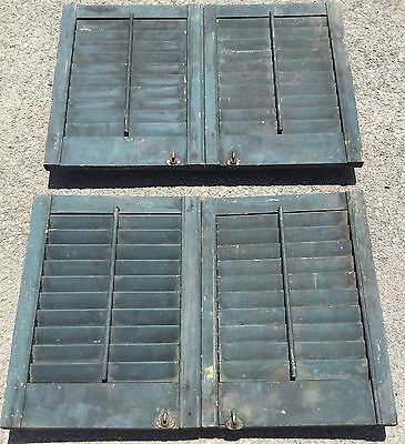 Old Vtg Antique Architectural Exterior Wood Shutter Forest Green Louver 2 Pair