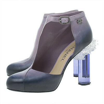 $1995 NEW CHANEL Ombre Purple Leather Crystal Lucite Cutout Boots  Shoes 39 RARE