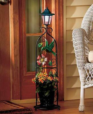 Solar Lighted Flower Plant Stand Lantern Light Hummingbird Design Yard Garden