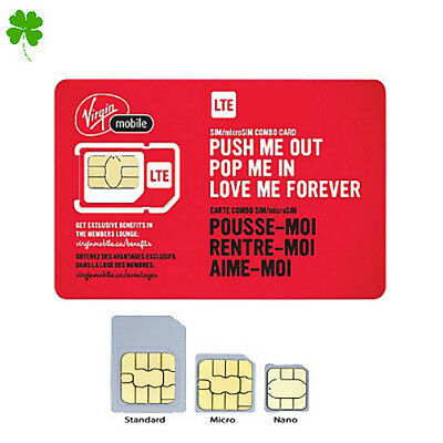 New Virgin Mobile LTE Multi SIM Card - Nano / Micro / Regular Size Canada Travel