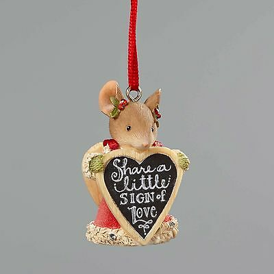 Enesco H7 Heart of Christmas Mouse with Sign Ornament 4052795
