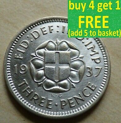 George VI Threepence 3D Silver Ag Coins Choose your date 1936-1944 (myrefnBox3)