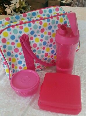 Tupperware pink Sandwich Keeper  lunch bag with drink bottle and snack cup new