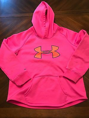 Under Armour Hoodie Sweatshirt Youth XL Girl's Storm Col Hot Pink & Gray EUC