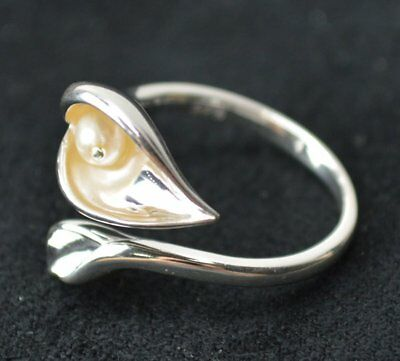 New Avon Sterling Silver Calla Lilly Ring w/ Genuine Freshwater Pearl Size 5-10
