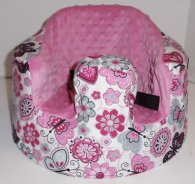 New Bumbo Floor Seat COVER • Pink w/Butterflies & Flowers • Safety Strap Ready
