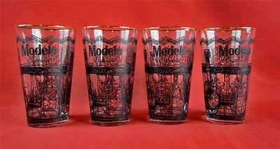 Set of 4 Modelo Especial 16 oz Mixing Drinking Glasses Bar Man Cave 345868 Wood