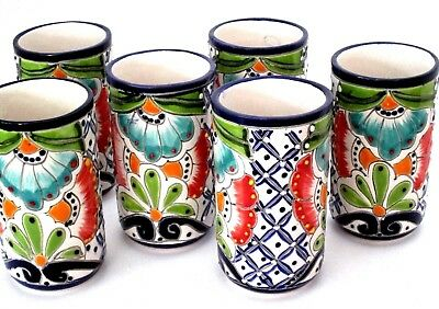 Mexican Talavera Water Glasses, Set (6) Talavera Tumblers, Mexican Pottery