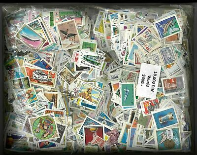 10,000 Mixed Used World Stamps In 10 Albums-All Different-1000 Stamps Per Album