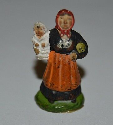 Vintage Small Antique Ceramic Chalkware Mother & Baby Child Figurine Toy Rare