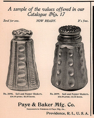 1902 A Ad  Paye And Baker Mfg Co Cut Glass Salt And Pepper Shakers