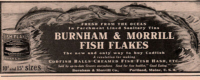 Early Ad  Lot Of 3  Burnham Morrill Fish Flakes Portland Me Clam Beans Corn