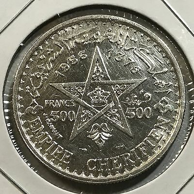 Morocco 1956 Silver 500 Francs Uncirculated Crown Coin