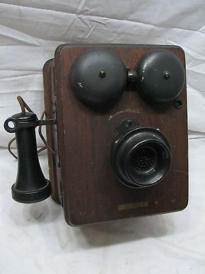 Antique Crank Kellogg Oak Ringer Wall Box Phone Bells Telephone