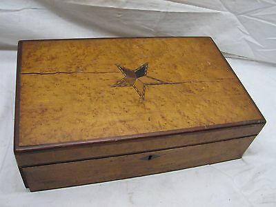 Antique Wooden Lap/Field Desk Writing Case Wood Box Tool Marquetry Inlaid Star