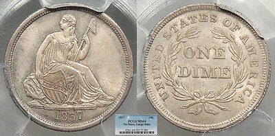 1837 Seated Liberty; No Stars; Large Date 10 Cents (Dime) PCGS MS-64