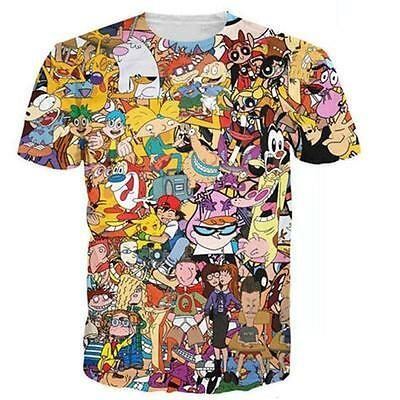 Funny 90s Anime Cartoon Collage Digital 3d Print Men's Womens Crew T shirt Tee