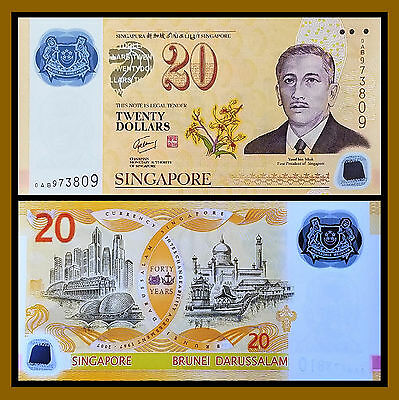 Singapore 20 Dollars, 2007 P-53 Polymer (Singapore & Brunei Commemorative Unc