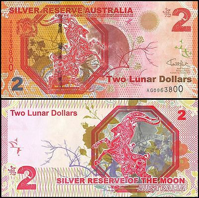 Australia 2 Lunar Dollars, 2016, P-NEW, UNC, Silver Reserve, Moon of Zodiac Goat
