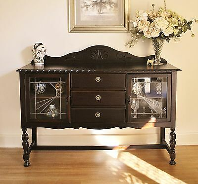 Antique Style Tudor Jacobean Leadlight Sideboard Buffet Cabinet Dresser TV Stand
