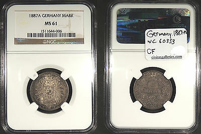 GERMANY: 1887-A 1 Mark NGC MS-61 #WC60333