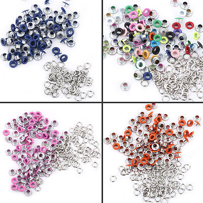 100 Sets Eyelet With Washer Leather Craft Repair Metal Grommet 5mm Colorful WD