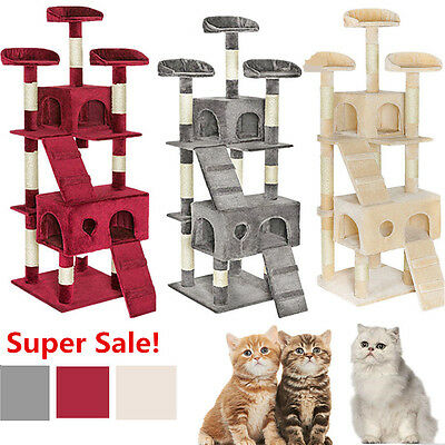 Cat Tree Activity Centre Scratcher Scratching Post Sisal Toys Bed 5.9FT 180cm UK