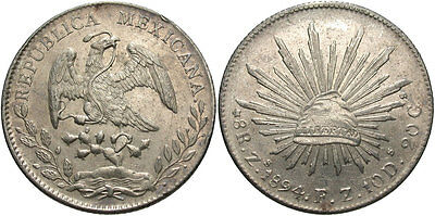 MEXICO: 1894 ZS FZ 8 Reales #WC69448