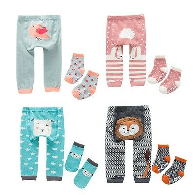 Cute Toddler Baby Boys Girls Warmer Trousers Leggings PP Pants + Socks 0-6Years