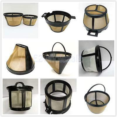 Reusable Permanent Cylinder-Style Coffee Filter Stainless Mesh Basket 6 Types