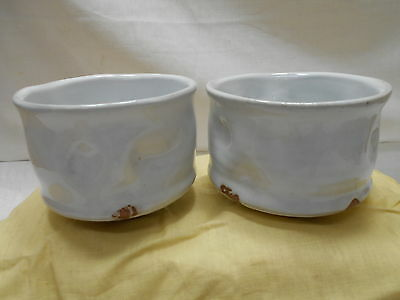 Japanese PAIR Tea Ceremony Pottery Bowls Chanoyu Traditional Vintage  #120