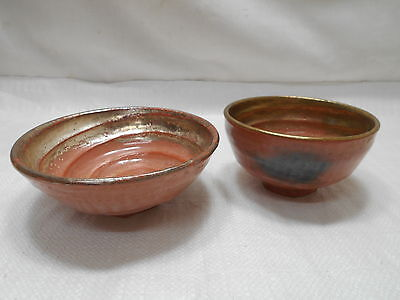 Japanese PAIR Tea Ceremony Pottery Bowls Chanoyu Traditional Vintage  #126