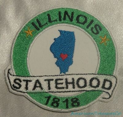 State Of Illinois Embroidered Iron On Patch Lincoln Travel Souvenir 215-U