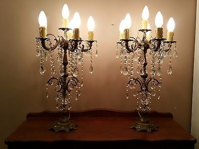 Vintage Brass and Crystal Chandelier Table Lamp.  PAIR