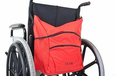 Wheelchair Bag - Water Resistant with 2 Large Pockets & Net Pouches - Red