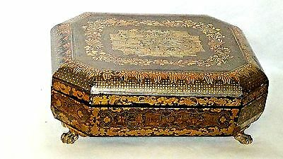 ANTIQUE 19c CHINESE HAND PAINTED LACQUERED COVERED GAME BOX SET,SIGNED