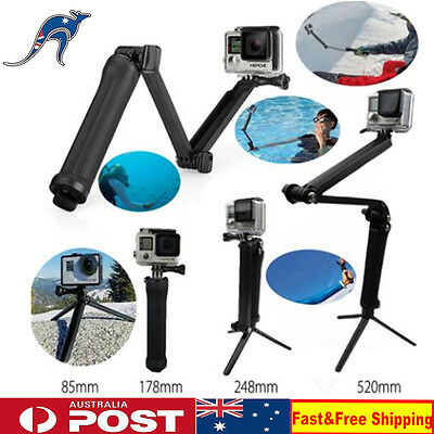 Go Pro Accessories 3 Way Monopod Mount Camera Grip Extension Arm Tripod Mount