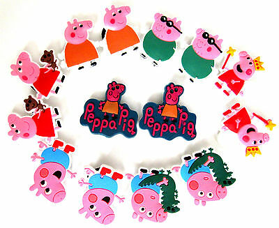1 X Pair Of Peppa  Pig Jibbitz Charms For Croc Shoes Choice Fast Uk Delivery