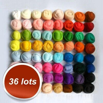 36 Colors Merino Felting Wool Fibre Roving Needle Hand Spinning Sewing Trimming