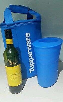Tupperware Sheer coastal Blue Wine / Bottle Cooler bucket and insulated bag new