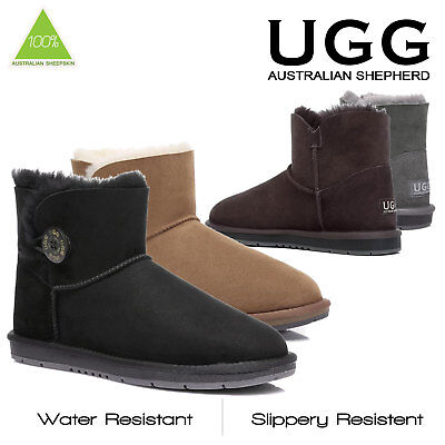 NEW Ugg Boots Ladies Sheepskin Wool Mini Button Black Brown Grey Size 35-40 EU