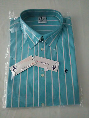 Mens NorthShark Business Shirt, Size L, Cotton, Light Blue with Pinstripes
