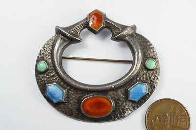 ANTIQUE ENGLISH CELTIC STYLE STERLING SILVER ENAMEL ARTS CRAFTS BROOCH c1920's