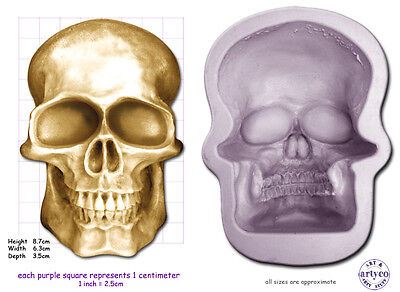 SKULL LARGE Craft Sugarcraft Sculpey Soap Silicone Rubber Mould